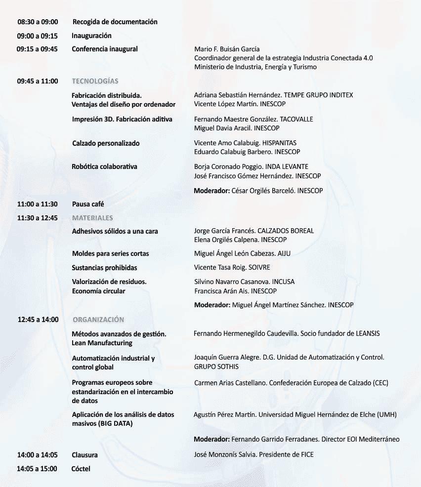 Programa del primer Congreso Nacional de Calzado