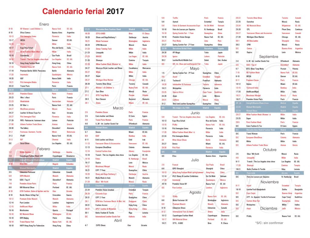 Calendario ferial 2017 revista del calzado for Calendario ferias