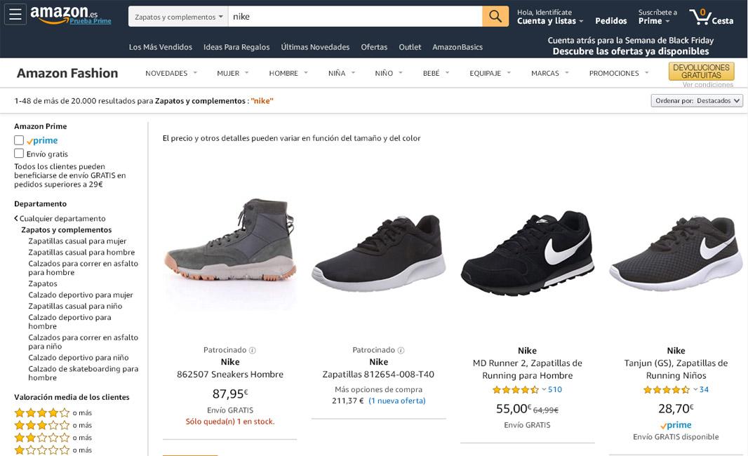 outlet bien fuera x venta barata del reino unido Nike abandona Amazon - Revista del Calzado